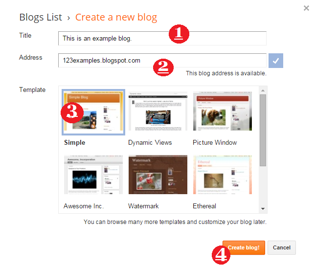 create a new blog